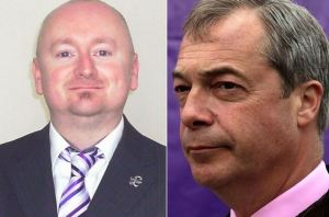 UKIP's Jason Smith, left, and party leader Nigel Farage