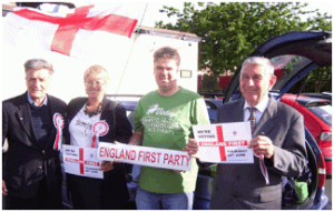 Bert Leech (far left) helping the England First Party