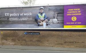 EU Policy at Work' billboard coming to you soon was posted on twitter by UKIP Economics Spokesman Steven Woolfe Photo: @Steven_Woolfe