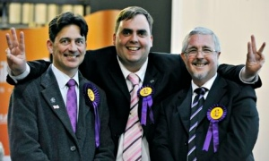 Kerry Smith, centre, celebrates a local election victory in May 2013. He has resigned as a prospective parliamentary candidate for Ukip after making homophobic and racist remarks. Photograph: Nick Ansell/PA Wire