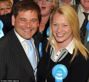 Andrew Bridgen said the ordeal ruined his marriage and family life. He is pictured with his former wife Jackie Bridgen in 2010, a year before he was accused of sexually assaulting Ms Fuller The Ukip leader has strongly denied ever having an affair with the former aide. She no longer works for the party