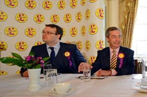 UKIP's Matthew Richardson and Nigel Farage